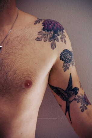 Swallow Shoulder Tattoo For Men