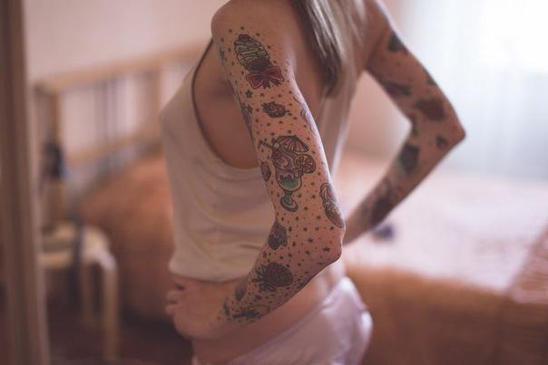 Sweet tattoo sleeve for girl