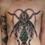 Symbolic Cockroach traditional tattoo