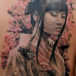 Tender Japanese Girl realistic tattoo