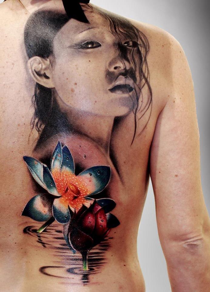 Tender Lotus realistic tattoo