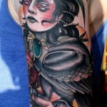 Templar Girl-Hawk traditional tattoo