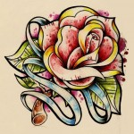 Traditional rose drawing tattoo with stripe