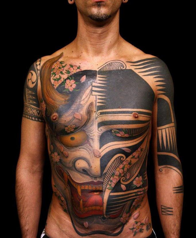 Twin face Blackwork japanese tattoo art style