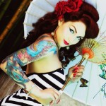 Umbrella Pin Up Girl tattoo design