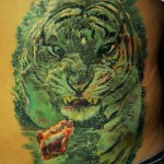 Underwater Tiger Hunt realistic tattoo