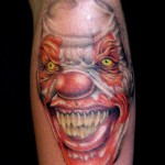 Wide Smile Evil Clown tattoo