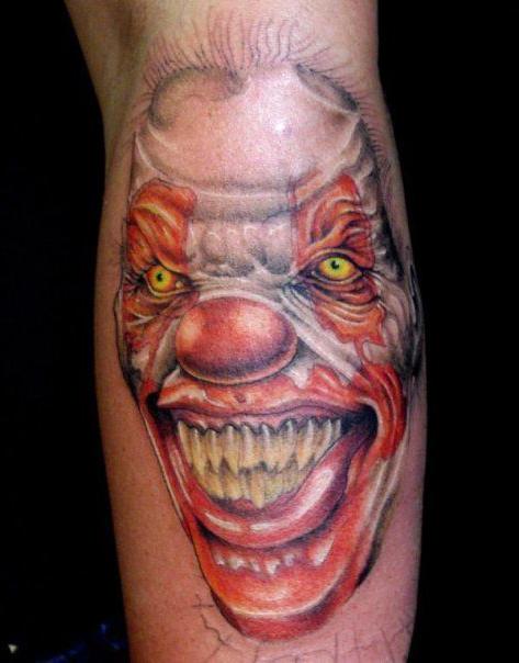 Wide Smile Evil Clown tattoo