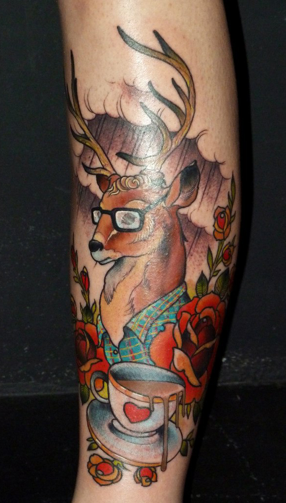 Wise Deer traditional tattoo