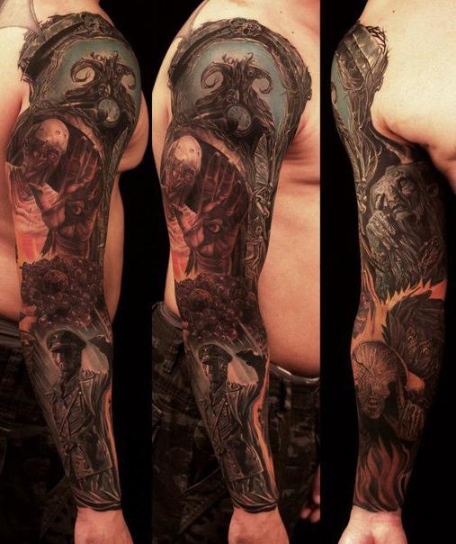 Demonic world tattoo sleeve for men