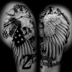 2nd Amedment Skull tattoo by Westfall Tattoo