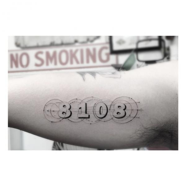 8108 Circles Lettering tattoo by Dr Woo