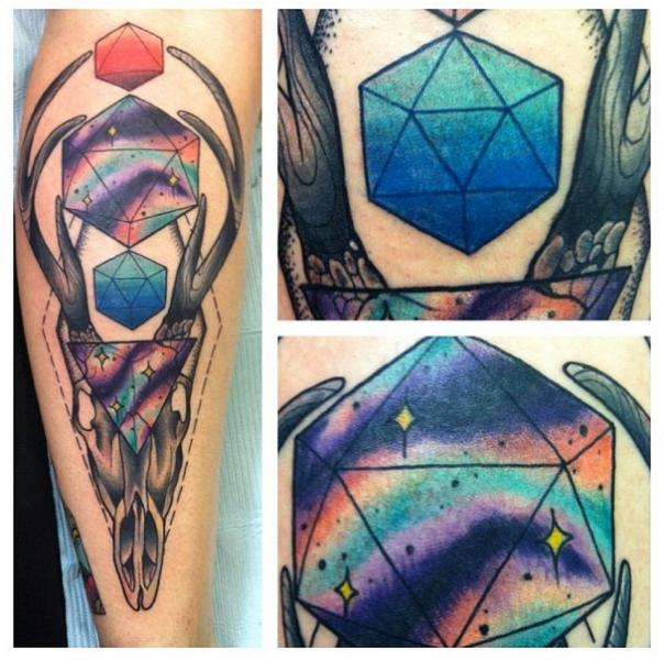 Abstract Deer Scull New School tattoo by Last Angels Tattoo