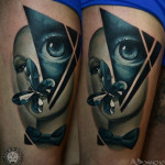 Abstract Face tattoo by AD Pancho