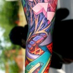 Abstract Geometry Pieces tattoo sleeve