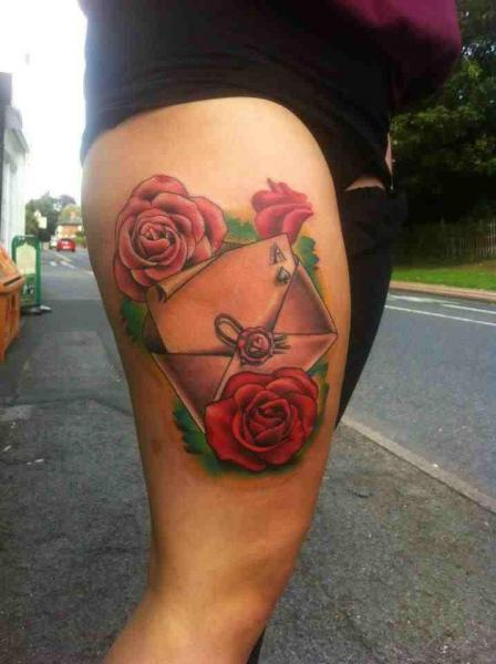 Ace Sealed Letter New School tattoo by Marked For Life