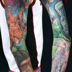 African Wild Animals tattoo sleeve