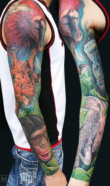 African Wild Animals tattoo sleeve