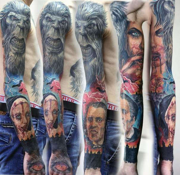 All Monsters tattoo sleeve