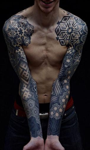 Amazing Both Hands Blackwork tattoo sleeve