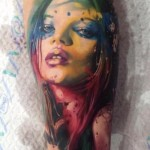 Amazing Girl Aquarelle Realistic tattoo by Samuel Potuček