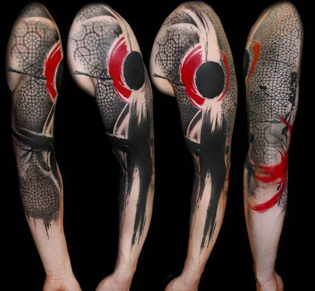 Amazing Trash Polka tattoo Sleeve idea
