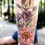Anckle Colorful Flower tattoo