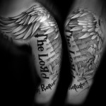Angel Writing Religious tattoo by Westfall Tattoo