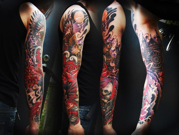 Angels Roses and Scull in Church tattoo sleeve