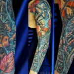 Anime Style Cyborg tattoo sleeve