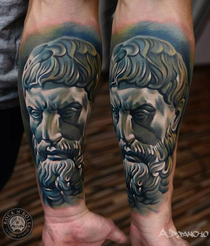 Antique Wise Man tattoo by AD Pancho