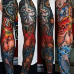 Apocalypse Bike Riding Astronaut tattoo sleeve