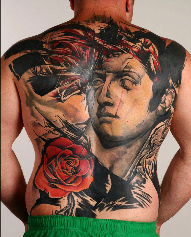 Apollo Statue Trash Polka tattoo on Back