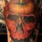 Apple Skull Trash Polka tattoo
