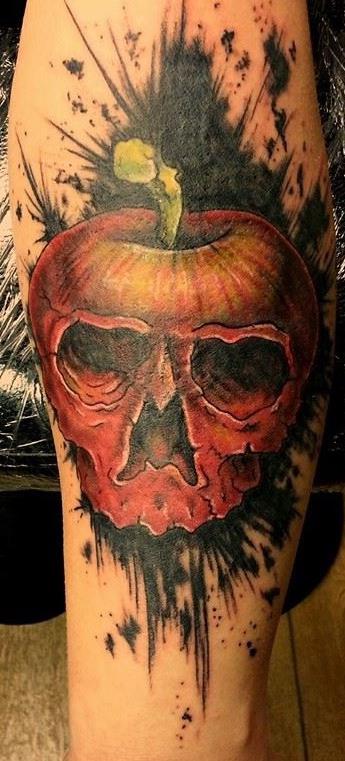 Apple Scull Trash Polka tattoo