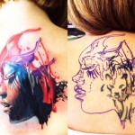 Aquarelle Face Cover Up tattoo design