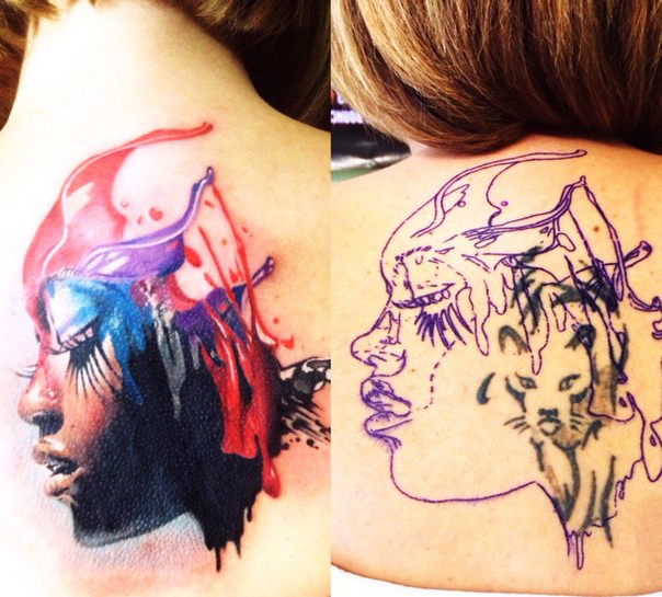 Aquarelle Face Cover Up tattoo design