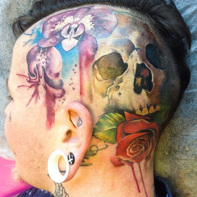 Aquarelle Scull Rose head tattoo design