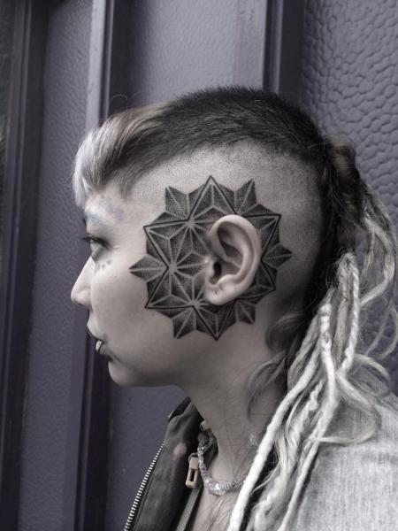 Around Ear Dotwork tattoo by Corey Divine