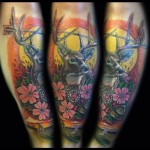 Arrow Horns Stag tattoo by Johnny Smith Art