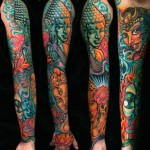 Asian Gods Buddha tattoo sleeve