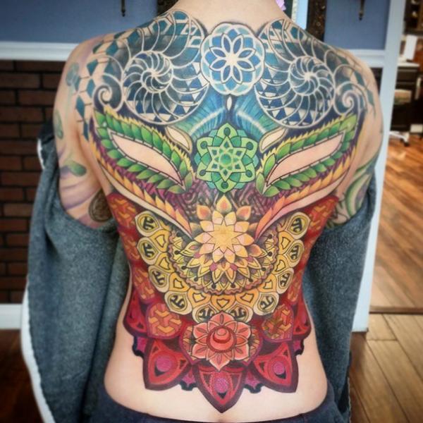 Asian Style Mandalas Full back tattoo by Anthony Ortega