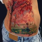 Autumn Landscape Painting tattoo