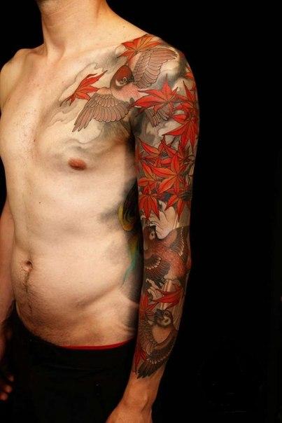 Autumn Leaves Sparrows tattoo sleeve