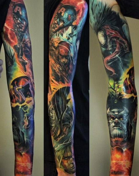 avengers crew realistic tattoo sleeve best tattoo ideas gallery. Black Bedroom Furniture Sets. Home Design Ideas