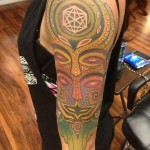 Aztek Masks New School tattoo by Anthony Ortega
