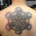 Back Hexahedron Dotwork tattoo by Anthony Ortega