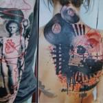 Back and Shoulder Trash Polka tattoo