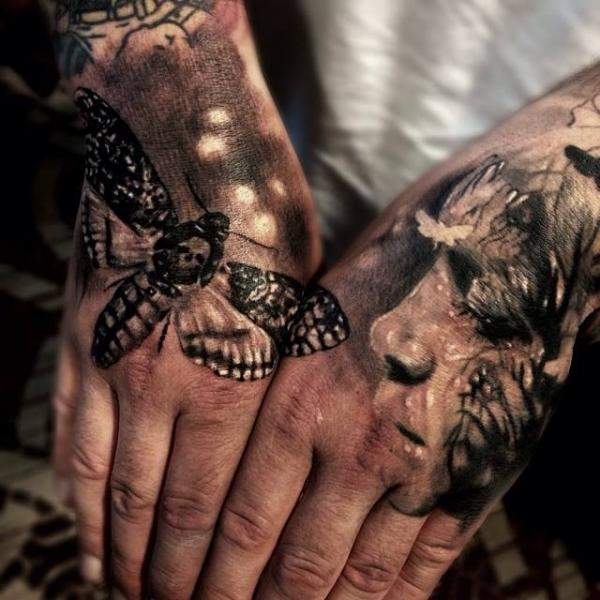 back of the hand moth and face tattoo by jak connolly best tattoo ideas gallery. Black Bedroom Furniture Sets. Home Design Ideas