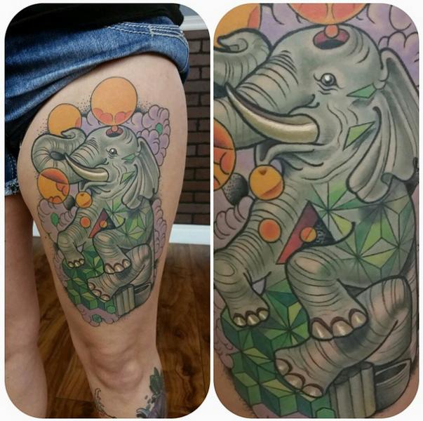 Baloon Elephant New School tattoo by Anthony Ortega